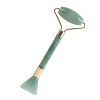 2 into 1 Green Aventurine Stone Face Roller and Shovel Design Facial Beauty Guasha Multi-Function Beauty Tools