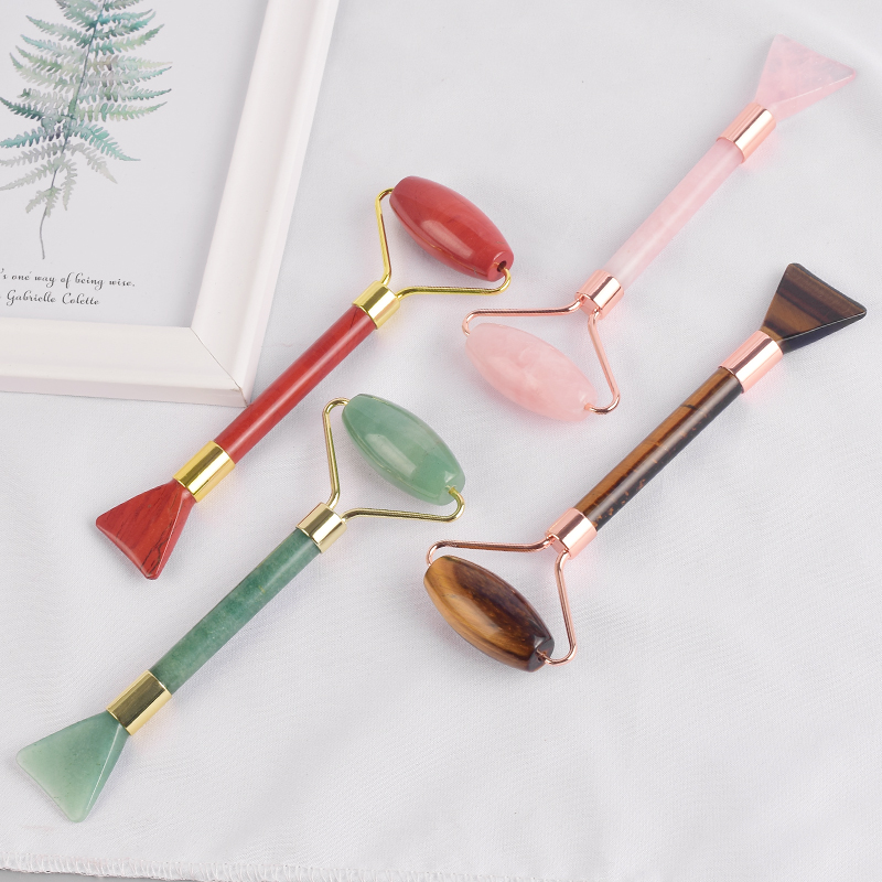 2 into 1 Rose Quartz Jade Roller and Shovel Design Facial Beauty Guasha Multi-Function Beauty Tools