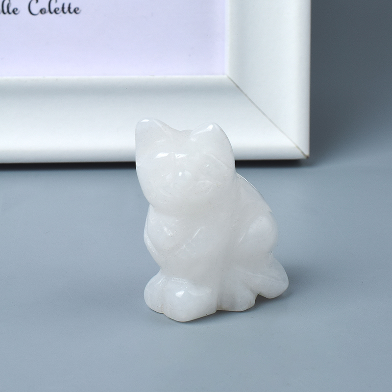 Hand Carved Natural White Jade Crystal Small Cat Figurines Gemstone Craft