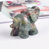 1.5 Inch Hand Carved Blooded Stone Elephant Crystal Animal Figurines