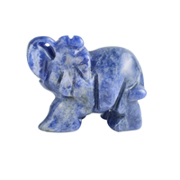 1.5 Inch Hand Carved Sodalite Stone Elephant Crystal Animal Figurines