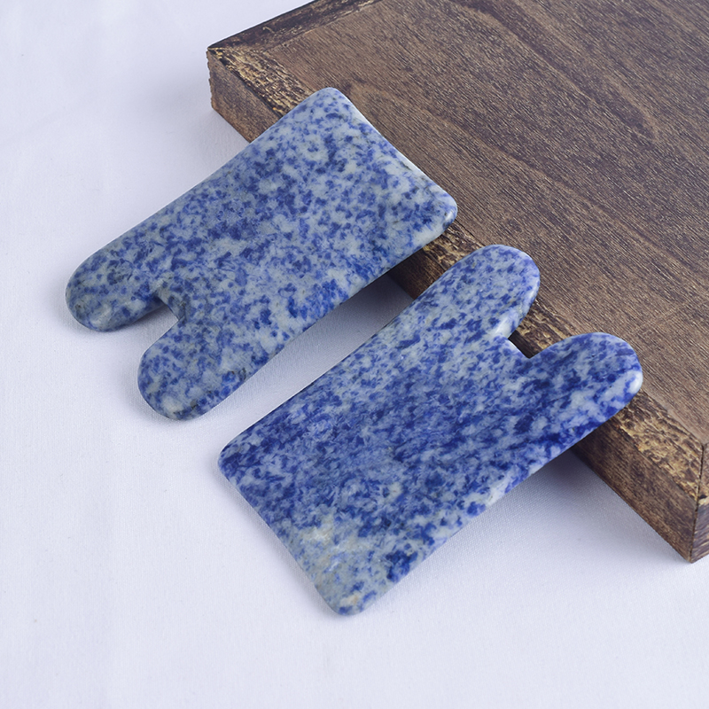 N-Shaped Blue Spot Jasper Gua Sha Scraping Massage Tool, Natural Jade Guasha Board for SPA Acupuncture Treatment, Reducing Neck and Muscle Pain