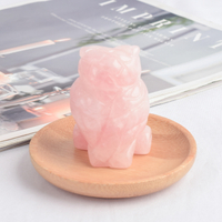 2 inch Hand Carved Natural Rose Quartz Stone Mini owl figurines Figurines