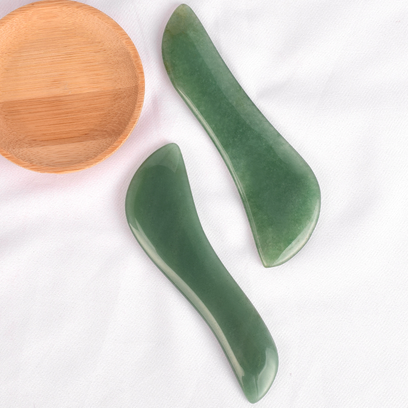 S-Shaped Green Aventurine Gua Sha Scraping Massage Tools, Natural Stone Guasha Board for SPA Acupuncture Therapy Trigger Point Treatment