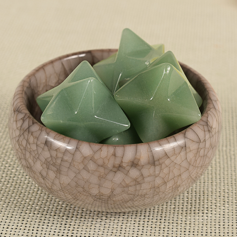 Natural Gemstone Green Aventurine Merkaba Star Stone