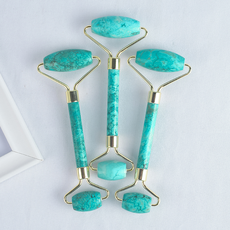 Turquoise Face Roller Turquoise Stone Facial Massager Tool for Anti Aging, Reduce Wrinkles, Improve Lymphatic Drainage
