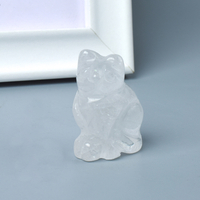 Hand Carved Natural Rock Quartz Crystal Small Cat Figurines Gemstone Craft