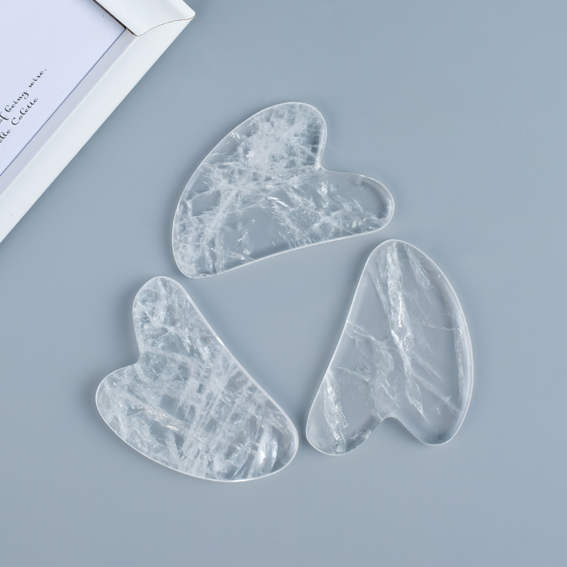 Gua Sha Facial Massage Tool Natural Rock Quartz Scraping board Body Scraper Crystal Scratching
