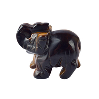 1.5 Inch Hand Carved Tiger Eye Stone Elephant Crystal Animal Figurines