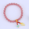 Natural Strawberry Crystal with Leaf Beeswax Bracelet