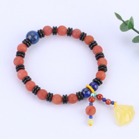 Natural Matt Carnelian with Lapis Lazuli Hand String