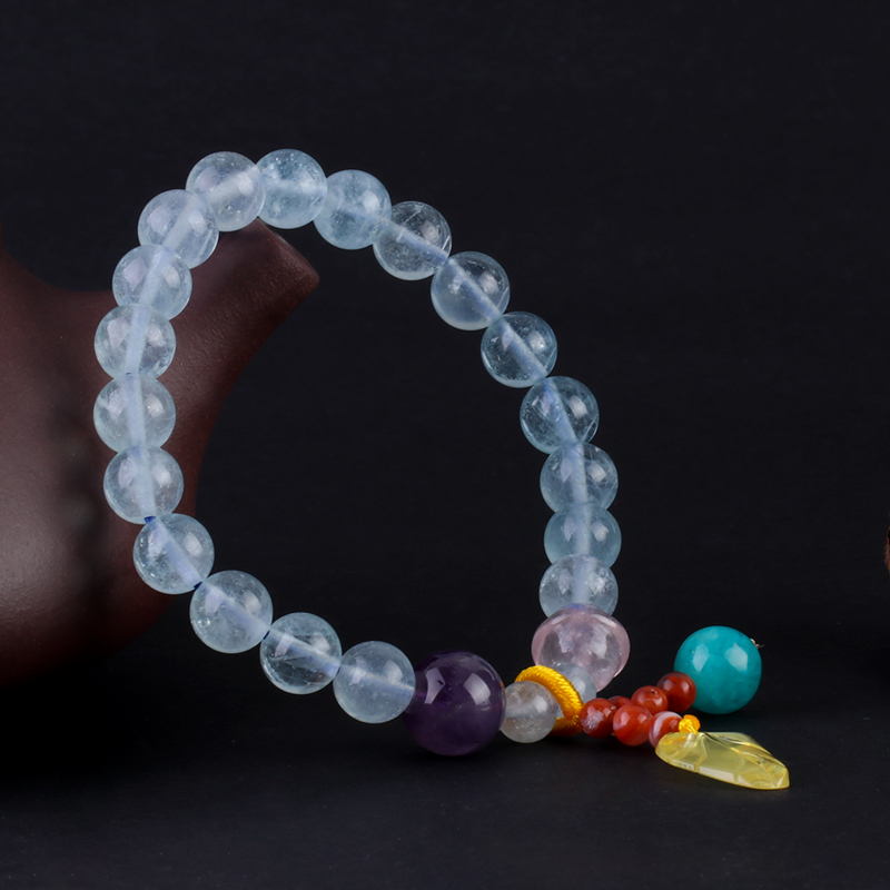 Natural Aquamarine with Amethyst Bracelet