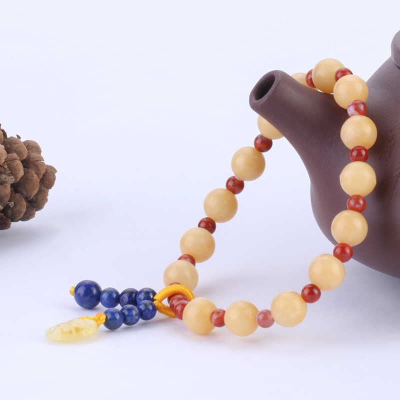 Natural Yellow Jade with Southern Red Jasper Small Bead Bracelet