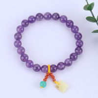 Natural Amethyst with Engraved Blessing Amber Hand String