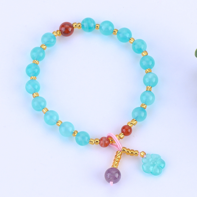 Natural Tianhe Stone with Yellow Crystal Bead Bracelet