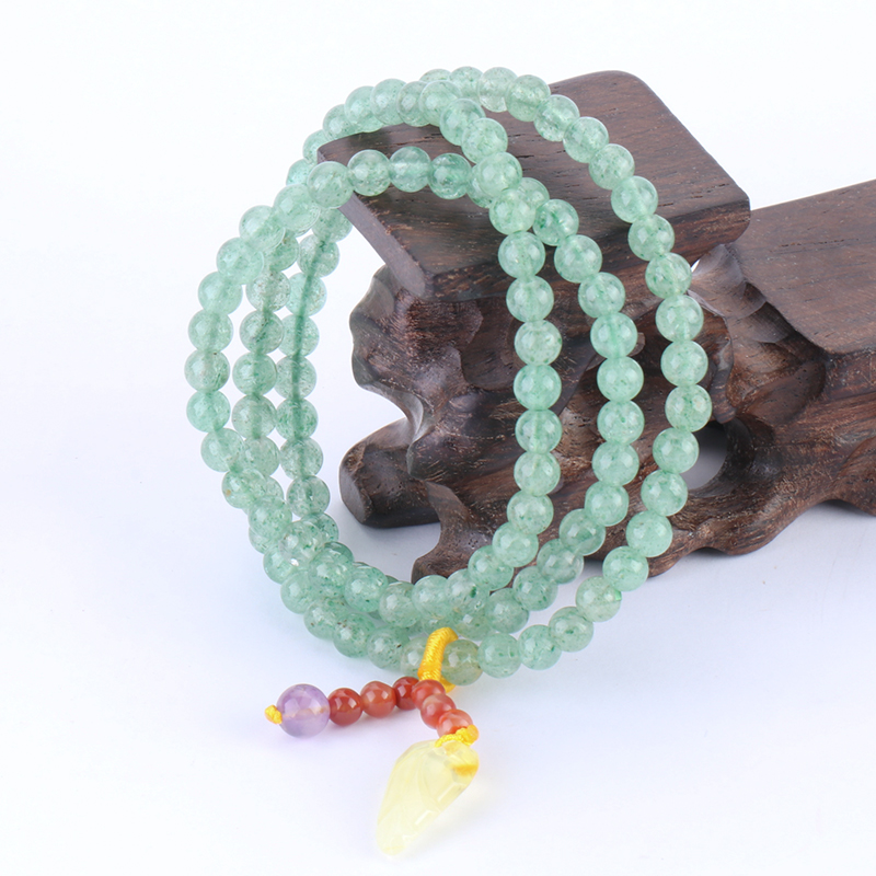 Natural Green Strawberry Crystal with South Red Beeswax Three-Circle Hand String